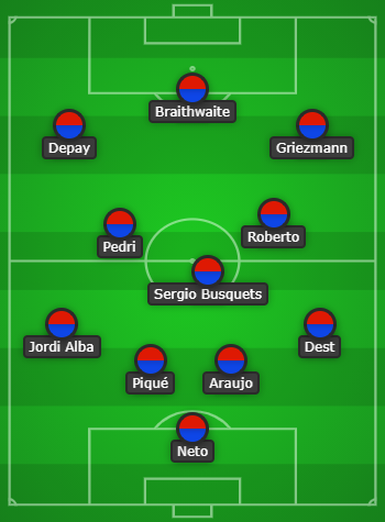 Barcelona predicted line up vs Real Sociedad
